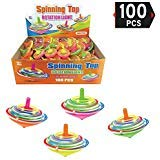 Value Bundle - 100 Pieces LED Light Up Flashing Mini Spinning Tops with Gyroscope - Kids Novelty Bulk Spin Toys Party Favors