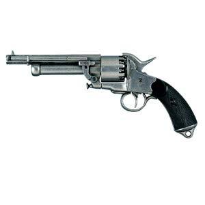Deko Waffe US-Lemat Revolver silberfarbend, Franz. 1860 Civil War Confederation
