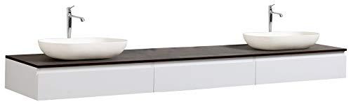 Badmöbel Vision 2250 Weiß matt - Aufsatzwaschbecken optional, Zusätzl. Blende für Ablaufgarnitur:ohne zusätzl. Blende, Auswahl Waschbecken:Ohne Waschbecken