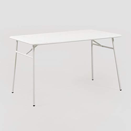 SKLUM Mesa de Exterior en Acero (130x80 cm) Janti Acero Blanco - (Elige Color)