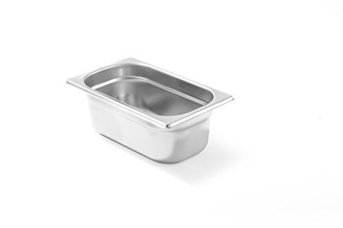 HENDI Gastronormbehälter, Temperaturbeständig von -40° bis 300°C, Heissluftöfen-Kühl- und Tiefkühlschränken-Chafing Dishes-Bain Marie, Stapelbar, 2,8L, GN 1/4, 265x162(H)100mm, Edelstahl 18/10