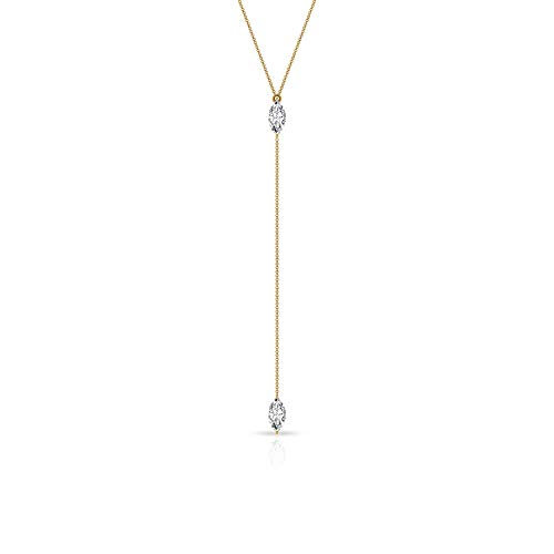 0.24CT SGL Certified Marquise Diamond Y Pendant, 14k Gold Long Chain Drop Necklace, Minimal IJ-SI Diamond Statement Charm Pendant, Birthday Gifts Idea, 18K Yellow Gold