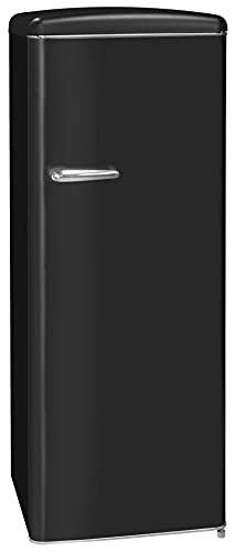 Exquisit Retrokühlschrank RKS325-V-H-160F mattschwarz | Standgerät | 229 l Volumen | mattschwarz