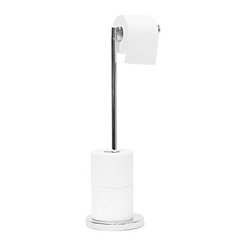 Relaxdays Toilettenpapierhalter stehend HBT: ca. 69 x 16,5 x 16,5 cm freistehender Papierrollenhalter in Edelstahl-Optik edler Rollenhalter für WC-Rollen als Ersatzrollenhalter verchromt, Silber