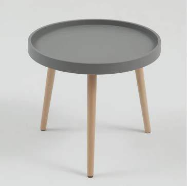 Sim Luxury Moderner runder Couchtisch, Beistelltisch mit Holzbeinen für Wohnzimmer, Arbeitszimmer, 50 cm x 50 cm x 45 cm (grau)
