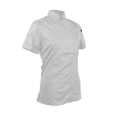 ChefsCloset Unisex Women's Bailey Chef Coat, Short Sleeve Zipper White Chef Jacket, Ladies XS