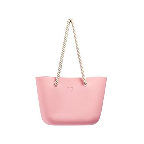 DIWA Reine Farbe Schulter Strandtasche für Frauen, Sommeraufbewahrungstasche für Swimmingpool/Reise, 38 * 14 * 26,5 cm / 14.96 * 5,51 * 10.43in (Color : Pink, Größe : 38 * 14 * 26.5cm)