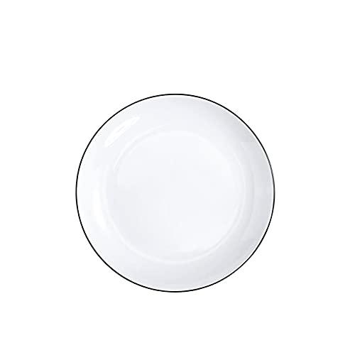 Plato de cena blanco, plato, pasta plana de cerámica blanca para el hogar, plato de carne, disco de 16.8 de profundidad