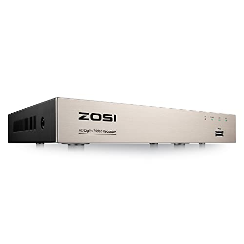 ZOSI H.265+ 5MP Lite 8 Channel CCTV DVR Recorder,8CH 1080p Hybrid 4-in-1 Analog/AHD/TVI/CVI Surveillance DVR for 720P/1080P Security Camera System,Remote Access,Motion Detection,Alert Push(No HDD)