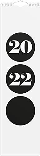 Simple Wandkalender 2022   Schwarz und Weiß Wandkalender mit dem Format 110x430 mm   1 Monat Pro Blatt   Spiralgebunden Wandkalender für 2022