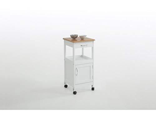 Kit Closet Carro de Cocina de Madera con una Puerta y un cajón, Blanco/Haya, 37 x 37 x 76