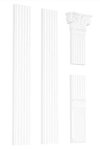 Pilaster Komplettset | formfestes Polystyrol | Flachsäule | Stuck | Innendekor | weiß | EPS | PL-01