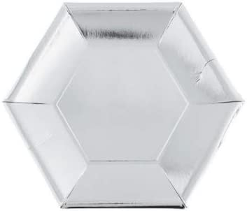 Ojis Ecart 24 Piece Metallic Plates Dessert Hexagon Product 100% quality warranty Paper