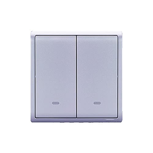 Yoaodpei Panel de interruptores Ultrafino Tipo 86 Panel de interruptores basculantes Oculto Panel de Pared de Plata Lavanda Controlador de energía Interior 10A con lámpara Fluorescente