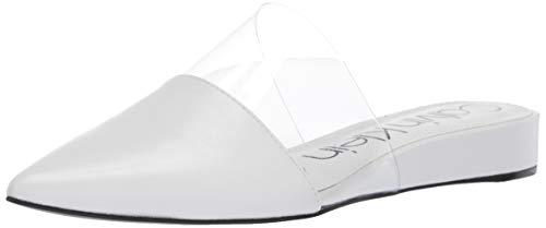 Calvin Klein Women's CHARMONE Mule, White Kid Skin/Clear Lucite, 6.5 M US
