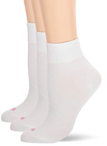 HUE Women's Cotton Body Crew Socks, 3 Pair Pack, White, One Size -  U20738-100
