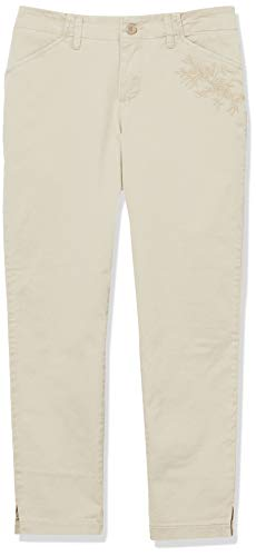 Lee Women's Eased Fit Embroidered Tailored Chino Ankle Pant, Vintage Bungalow Khaki, 4 Short