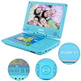 """11"""" Portable DVD Player for Kids with 9"""" Swivel Screen, Car Headrest Mount Holder, Rechargeable Battery, Wall Charger, Car Charger, SD Card Slot, USB Port & Swivel Screen (Blue)"""