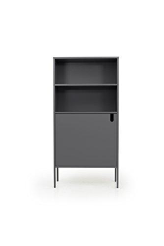 Tenzo 8560-014 UNO Designer Hochschrank 1 Tür, MDF/Spanplatte, grau, 76 x 40 x 152 cm