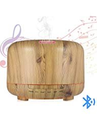 Hrome Essential Oil Diffuser Humidifier with Bluetooth Speaker, 600ml Aroma Diffuser for Baby Rooms, Bedrooms, Spa and Office, Auto Shut-Off, Wood Grain (Wood Texture)