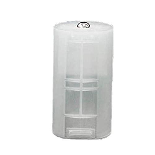 fregthf Caja de conversión de batería Transparente 8 PCS AA a D Tamaño Adaptador de batería Espaciador Blanco Caso conversor