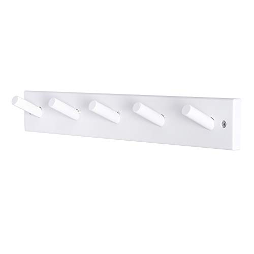 Dseap Wall Mounted Coat Rack: 16-Inches Hole to Hole, 5 Pegs Coat Hanger Hooks for Hanging Coats Towels Hats Clothes, White