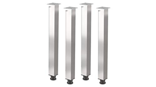 Patas de mesa regulables en altura, patas mesa, aluminio y metal, muebles, apoyo, 4 unidades, altura 710 mm, sección transversal – 60 x mm cuadrado, accesorios montaje incluidos