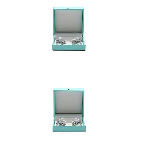 SHOWWE Caja de joyería de gama alta caja de joyería caja de almacenamiento de embalaje de joyería caja de regalo caja de regalo collar de perlas caja de pulsera para almacenamiento 10* 10* 4.5cm (G3)
