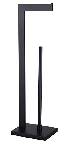 GERZWY SUS 304 Stainless Steel Toilet Paper Holder, Free Standing Lavatory Pedestal Toilet Paper Stand with Reserve, Matte Black DZY004-BK