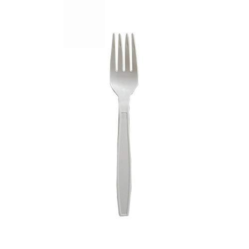 VIRSUS 100 forchette biodegradabili e compostabili Bianche Posate in CPLA Fibra di Zucchero 2 CF x 50 Pezzi stoviglie bio Eco Friendly