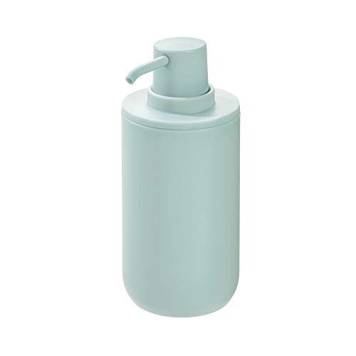 Price comparison product image iDesign Liquid Soap Dispenser,  Refillable Hand Soap Bottle with 355 ml Volume,  Round Plastic Soap Pump for Bathroom and Kitchen,  Light Blue