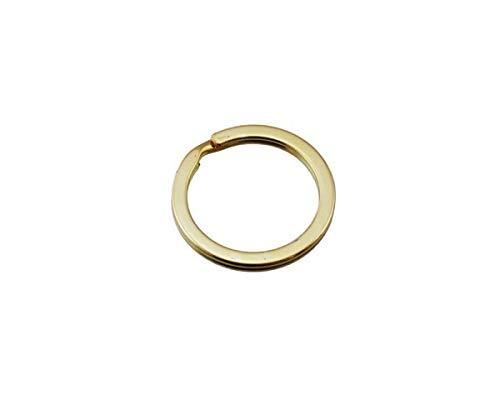 TQOOL キーホルダーパーツ 鉄平押しキーリング 25mm ゴールド 1個入 29226