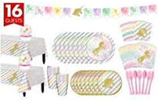 ONE STOP Unicorn Sparkle Complete Tableware Party Kit for 16 Guests Plates, Napkins, Cups, Table Cover, and Decorations Birthday Party Supplies