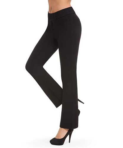 Bamans Pantalones Elegantes Push up Mujer, Acampanado Elásticos Pantalón Cintura Alta Largos Straigth Pantalones para Yoga, Oficina, Casual (Negro, Large)