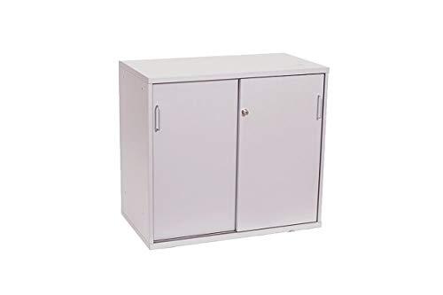 VS Büromöbel Sideboard Aktenschrank Büroschrank 2 Ordnerhöhen Mit Schiebetüren In Dekor Silbergrau, Geprüft Und Gebraucht, 72x80x44,5cm (Zertifiziert und Generalüberholt)
