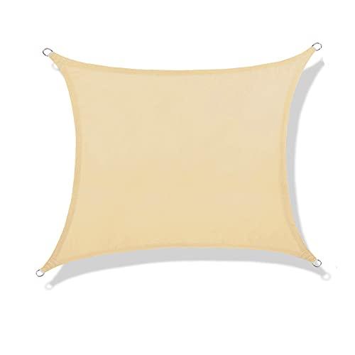 NAKAMORY Sun Shade Sail Waterproof 95% UV Block for Outdoor Garden Patio Backyard (6.5'×6.5', Beige)