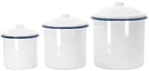 Red Co. Weiße, emaillierte Aufbewahrungsdosen mit Deckel, dekorative Gläser, Lebensmittelbehälter, 3 Stück
