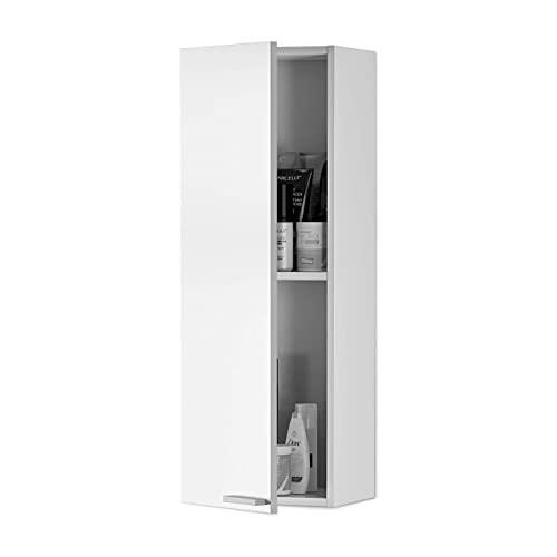 ARKITMOBEL Columna de Baño Suspendido 1 Puerta, Mueble Lavabo, Modelo Koncept, Acabado en Color Blanco Brillo Medidas: 30 cm (Ancho) x 85 cm (Alto) x 25 cm (Fondo)