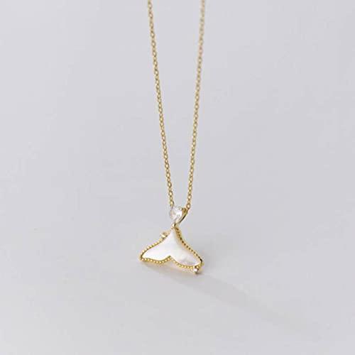 Good dress S925 Collar de Cola de Pez de Concha Literaria de Plata, Collar Simple de un Solo Diamante para Mujerdorado, Plata 925