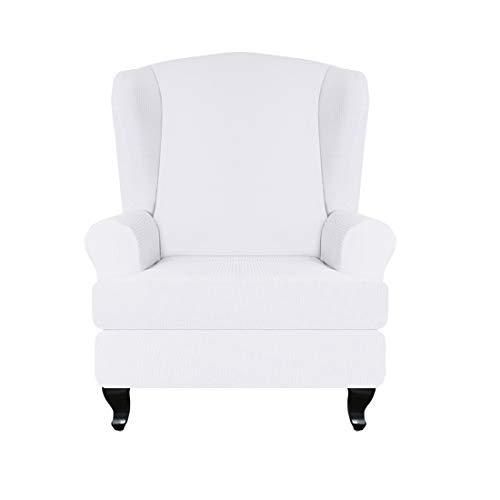 Jubang Ohrensessel Schonbezug, Elastische Sofabezug Sesselbezug, Sesselüberwurf Weiches Ohrensessel Überzug, Schutzhülle Sessel Husse für Ohrensessel (Weiße)