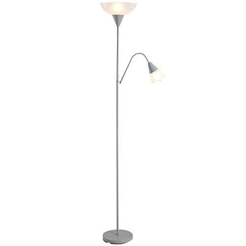 HOMCOM Moderne Stehlampe 2 Köpfe Verstellbares Leselicht, Standleuchte, Doppelköpfes Design mit Stahlfuß,Silber, Weiß, 28 x 28 x 179,5 cm