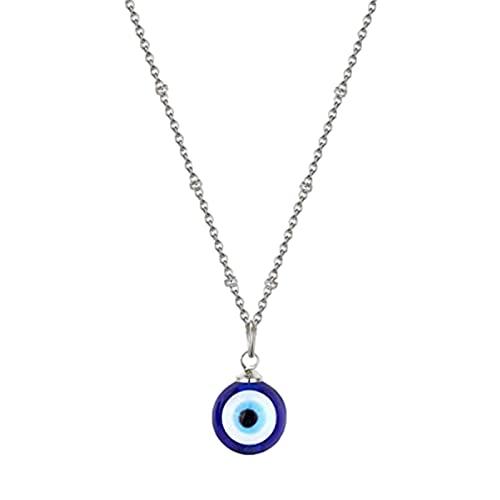 Collar con amuleto de ojo azul, simple, versátil y exquisito, ajustable, ideal como regalo para mujeres y niñas (plata/oro)