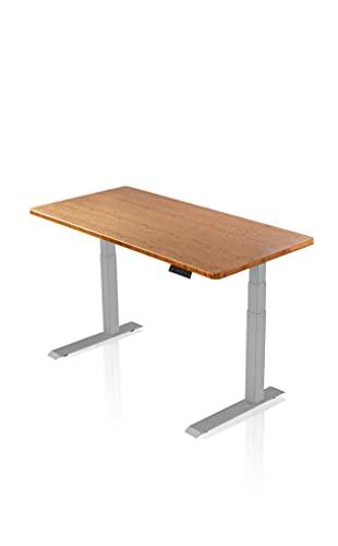 - AGIL - Elektrisch Höhenverstellbarer Schreibtisch - Graues PREMIUM Gestell & Bambus Massivholztischplatte - Ergonomischer Schreibtisch für Kinder und Erwachsene - stufenlos verstellbar -