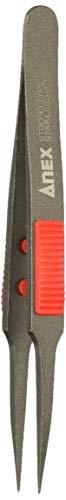アネックス(ANEX) ピンセット SUS410製 グリップ付 非粘着加工 極細鋭型 115mm No.224