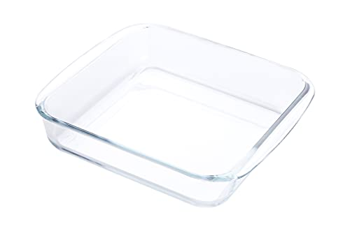 2.3L Clear Square Tempered Glass Bakeware,Glass Casserole Baking Dish for Oven,Dishwasher Safe