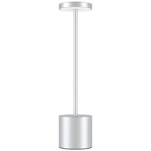 Lampada da Scrivania LED Senza Fili Ricaricabile USB, Moderna in Alluminio Luce da Ristorante Dimmerabile a 2 Livelli, Lampada da Tavolo da Lettura Comodino per Camera da Letto/Studia(Argento)