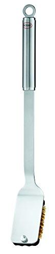 Rösle BBQ Reinigungsbürste, Edelstahl 18/10, Messing, austauschbare Bürsten, Verwendbar für jede Art von Grillrost, Spülmaschinengeeignet, Länge 46,5 cm