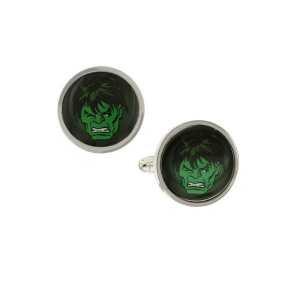 Hulk Silber Tone & Grün Gesicht Bild Manschettenknöpfe
