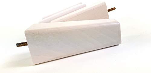 4 patas de madera M10 (10 mm) 160 mm de alto lavado blanco cuadrado de repuesto con borde biselado para sofá patas para taburetes sillas, sofás, settees gabinetes camas PKC351