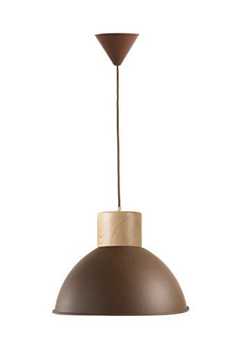 Els Banys Chester Lámpara de techo metálica con acabado óxido rugoso y embellecedor de madera natural. Cable textil a juego.